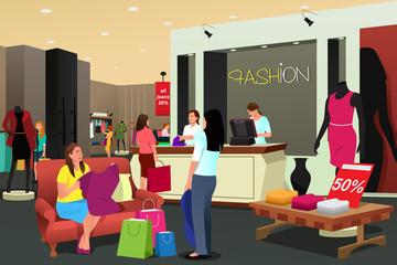 Women Shopping For Clothing