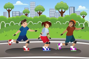 Kids Rollerblading Outdoor