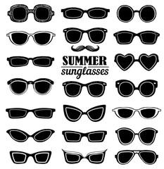 Summer sunglasses vector set
