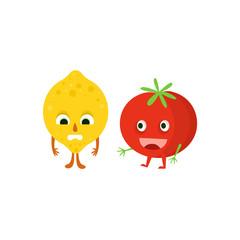 Humanized Lemon And Tomato Illustration