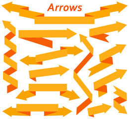 Set of arrows in modern flat style. Elements for design. Vector illustration.