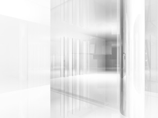 open space, clean room with shapes in 3d, business space, hospit