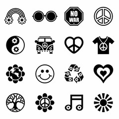 Vector Hippie icon set