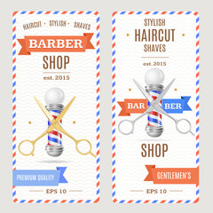 Barber Shop Banners Flyers Card. Vector