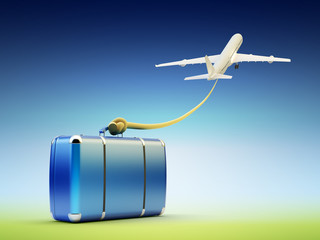 Air travel and tourism, baggage and luggage carriage, go on a journey concept, flying up airplane with the rope tied to the suitcase on blue sky background