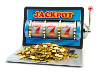 Jackpot, gambling gain, luck and success concept, casino app, laptop computer with slot machine with winning event and heap of gold coins on keyboard isolated on white