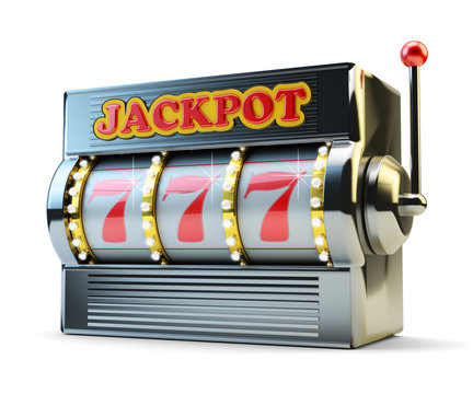 Jackpot, gambling gain, luck and success concept, casino slot machine with winning event isolated on white