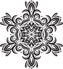 Abstract black vector round lace design - mandala, decorative el