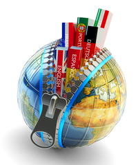 Foreign languages learning and translation concept, online translator icon, books with covers in colors of national flags of world countries inside Earth globe with zipper isolated on white