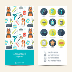 Flyer, brochure for pet grooming. Pet care. Set of promotional products. Flat design. Vector