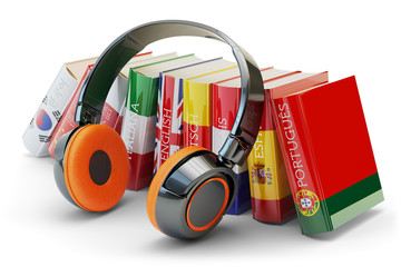 Foreign languages learning and translate, communication and education concept, audio books with...