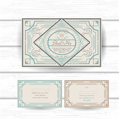 set of vintage ornament greeting, gift card or wedding invitation template