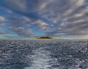 Small isolated island in the ocean. Fiji.