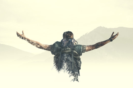 Double exposure man reach the top of the mountain