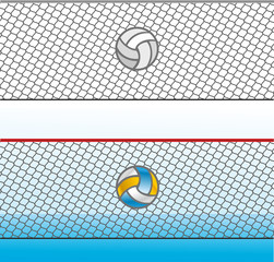 Volleyball on the grid background in black and white and color version, vector