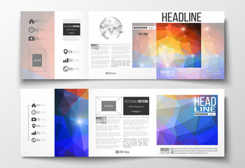 Vector set of tri-fold brochures, square design templates. Abstract colorful polygonal background, modern stylish triangle vector texture