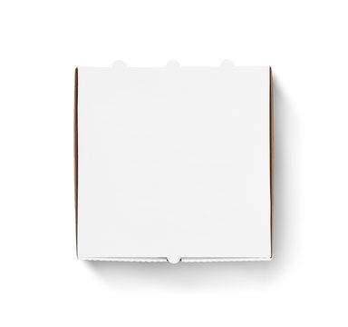 Blank pizza box design mock up top view isolated. Carton packaging.