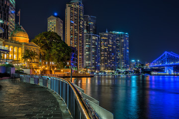 The Brisbane River and city from the river walk path