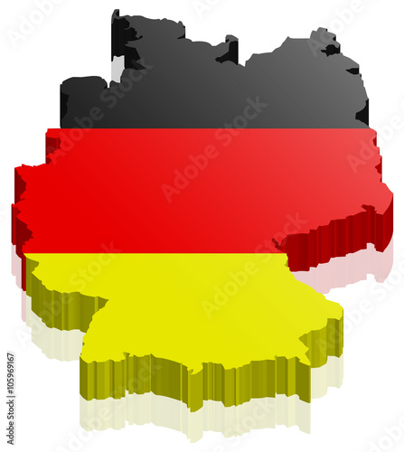 Deutschland Land Karte 3d Design Mit Flagge Stockfotos