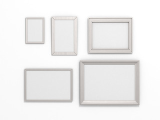 set of white frames of different sizes on a white background