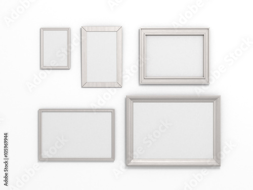set of white frames of different sizes on a white background\