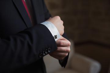 Man wearing cufflink
