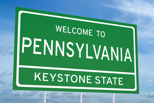 Welcome to Pennsylvania state road sign