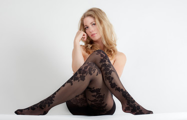 Woman in Patterned Tights