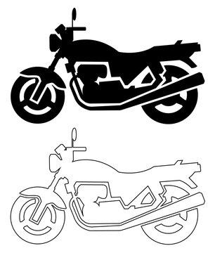 オートバイのシルエット(ブラック)