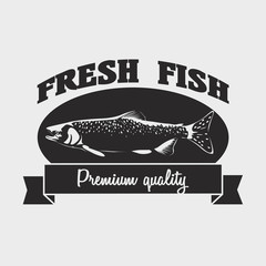 Seafood fresh fish label, logo design template with salmon fish.