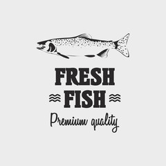Fresh fish premium quality logo concept with salmon fish. Black label on isolated on white background