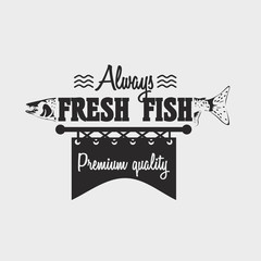 Logo or badge template with  salmon fish and text Always fresh fish