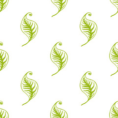 Green leaves seamless pattern. Vector design