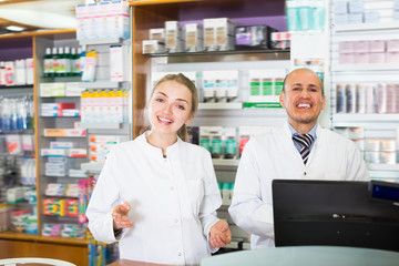 Portrait of pharmacists working in farmacy