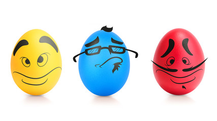 Concept of Easter egg with emotions faces isolated
