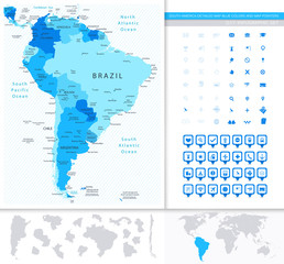 South America Detailed Map Blue Colors And Map Pointers Collecti