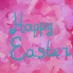 Happy Easter in azure typographic lettering greeting card  on red the background.  Hand drawn typography for Easter.