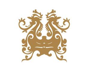 Gold Damask Ornamental Floral Logo