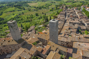 Fototapete - Medieval Tuscany town - San Gimignano, Italy