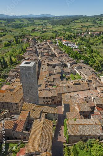 Fototapete Medieval Tuscany town - San Gimignano, Italy