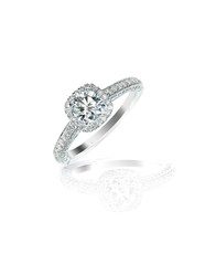 Diamond solitaire engagement wedding ring isolated on white