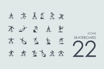 Set of skateboard icons