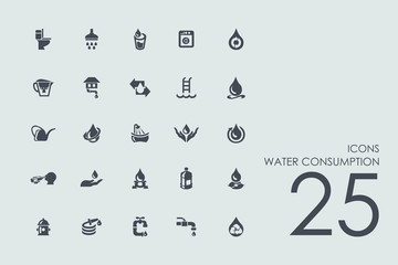 Set of water consumption icons
