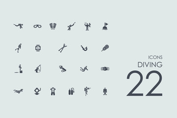 Set of diving icons