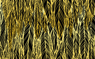Seamless pattern of black gold feathers, leaves, optical illusion, vector illustration