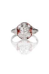 Vintage diamond ring with ruby accents isolated on white