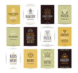 Set of vector poster templates for bakery, cafe, restaurant, piz