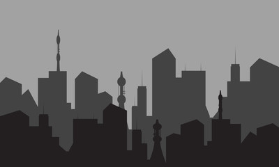 silhouettes of city