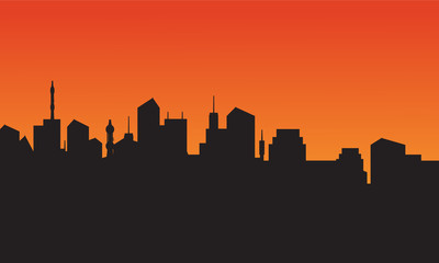 Silhouette of city skyline