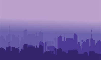 Silhouettes of city with purple color